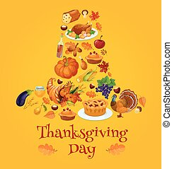 Thanksgiving day symbols in shape of pilgrim hat