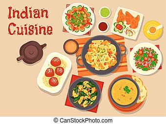 Indian cuisine vegetarian dinner dishes icon - Indian...