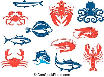 Seafood icon set with fish and crustacean. Crab, shrimp,...