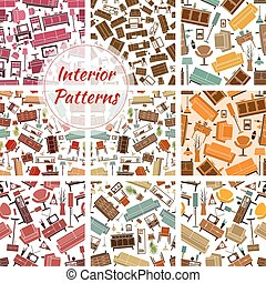 Home interior furniture and lamp seamless patterns - Home...