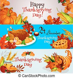 Thanksgiving banners, greeting card set - Happy Thanksgiving...
