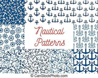 Nautical seamless pattern set with anchor and helm - Blue...