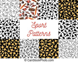 Sport seamless pattern set for sporting design