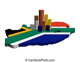skyscrapers on South Africa map flag