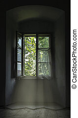 Lonley view - Abandoned old window with curtains.