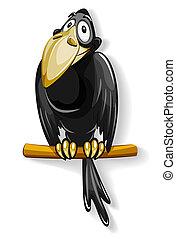 nice black crow sitting on pole illustration, isolated on...