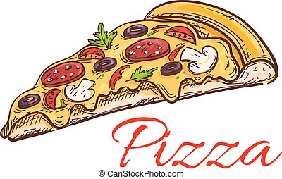 Pepperoni pizza thin slice isolated sketch - Pepperoni pizza...