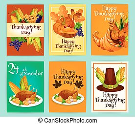 Thanksgiving Day greeting cards, posters, placards -...