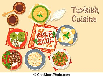 Turkish cuisine icon with grilled meat kebab - Turkish...