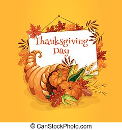 Thanksgiving cornucopia plenty horn greeting card -...