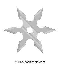 Metal shuriken icon monochrome. Single weapon icon from the...