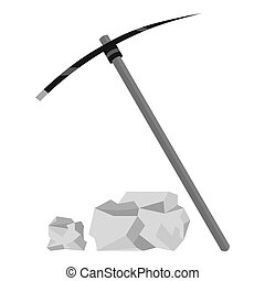 Pickaxe icon monochrome. Singe western icon from the wild...
