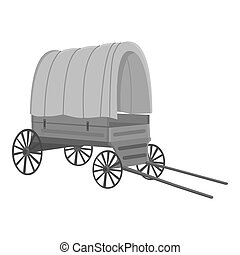 Cowboy wagon icon monochrome. Singe western icon from the...