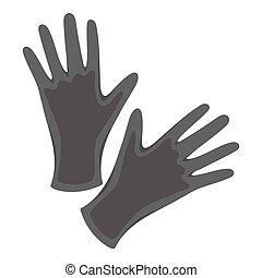 Black protective rubber gloves icon monochrome. Single...