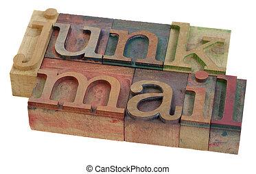 junk mail - words in vintage letterpress printing blocks,...