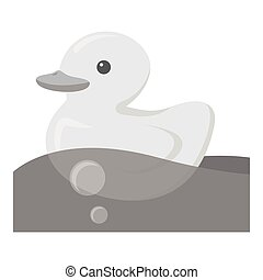 Duck toy monochrome icon. Illustration for web and mobile...