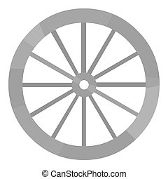 Cart-wheel icon monochrome. Singe western icon from the wild...