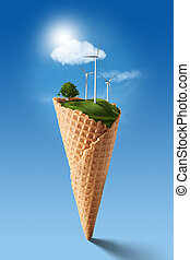Green energy concept - Wind turbines on meadow with tree...