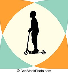 kid riding a scooter
