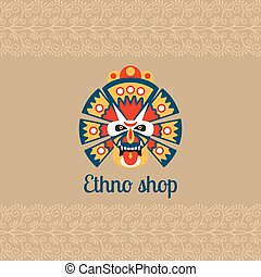 Ethno shop card with mask and logo. Vector illustration