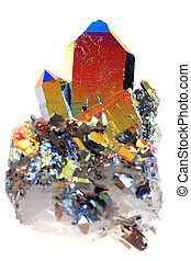 crystal with metal rainbow surface isolated on the white...