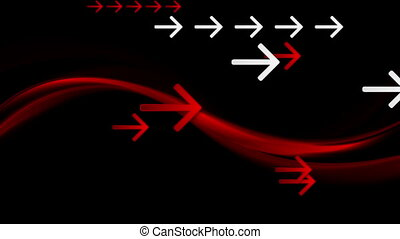 Dark red waves and arrows video animation - Dark red waves...