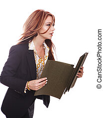 Businesswoman in a hurry - Side view of businesswoman late...