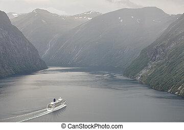 Norwegian fjord landscape. Storfjorden. Hellesylt, Geiranger...