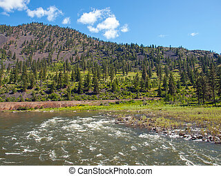 Wide Mountain River Cuts a Valley - Clark Fork River Montana...