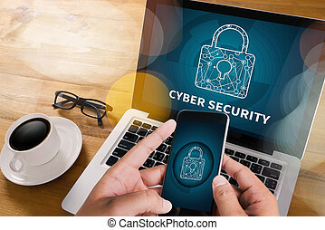 CYBER SECURITY Business, technology, internet and networking...
