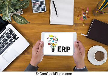 ERP Corporate identity mock up on an hardwood desk with...