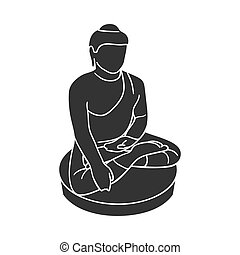 Sitting Buddha icon in black style isolated on white...