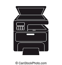 Multi-function printer in black style isolated on white...