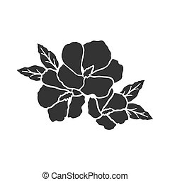 Rose of sharon icon in black style isolated on white...