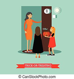 Kids playing trick or treat. Happy halloween holiday concept posters. Vector illustration in flat style design