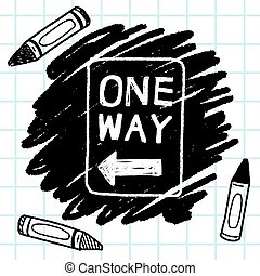 one way sign doodle