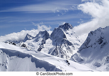Caucasus Mountains. Dombai. View from the top of Musa...