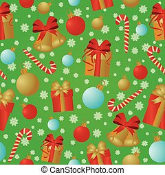 New Year and Merry Christmas seamless pattern, vector...