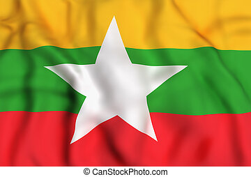 Myanmar flag waving - 3d rendering of Myanmar flag waving