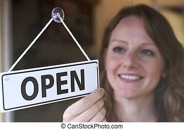 Laden, drehung, zeichen, türöffnung, Eigentümer, rgeöffnete, kaufmannsladen