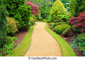 Beautiful garden in springtime in Scotland