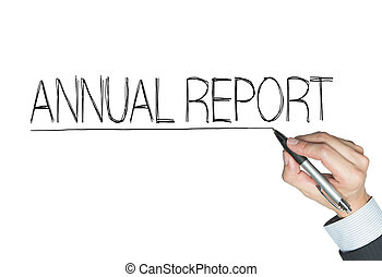 annual report written by hand, hand writing on transparent...