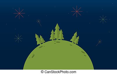 Hill with spruce tree landscape at night vector illustration