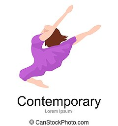 contemporary dancer, young girl jumping in dance, ballet  performance, good gymnastic stretching vector illustration