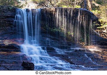 Weeping Rock falls, waterfall landscape - Water flowing over...