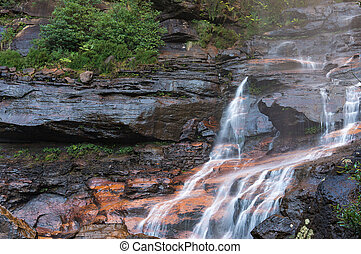 Waterfall cascade, flowing water - Wentworth Falls lower...
