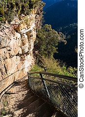 Mountain track over cliff edge - Mountain track over steep...