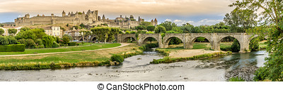 Panoramic view at the Old City of Carcassonne with Old...