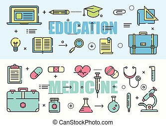 Education and Medicine flat thin line design banners. Vector concept elements, icons