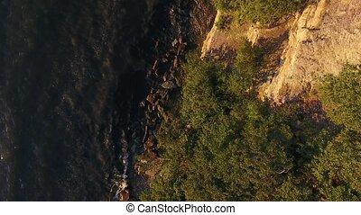 aerial view to cliff and baltic sea in estonia - nature and...